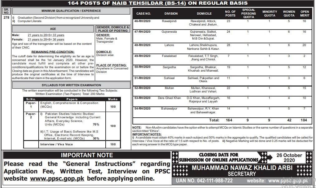 PPSC Tehsildar Naib Tehsildar Jobs