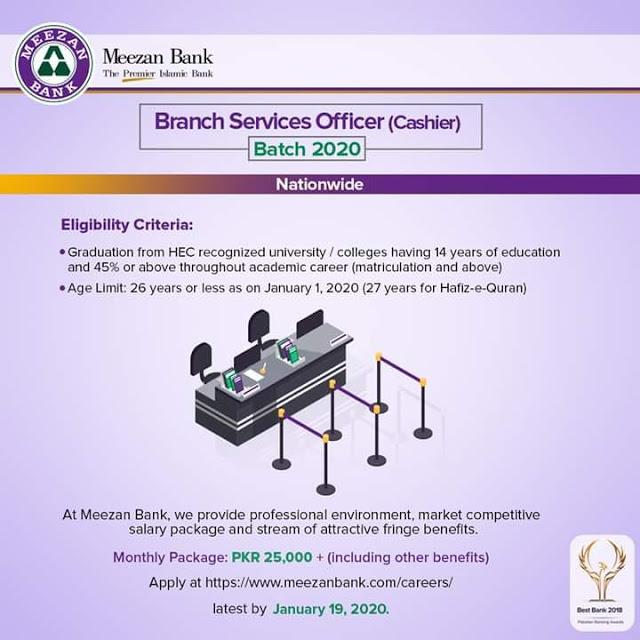 Meezan Bank Job 2020 for fresh Candidates