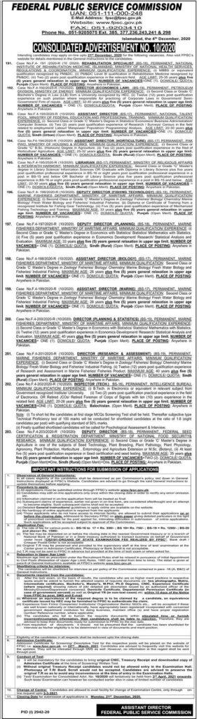 Latest 2020 FPSC Jobs