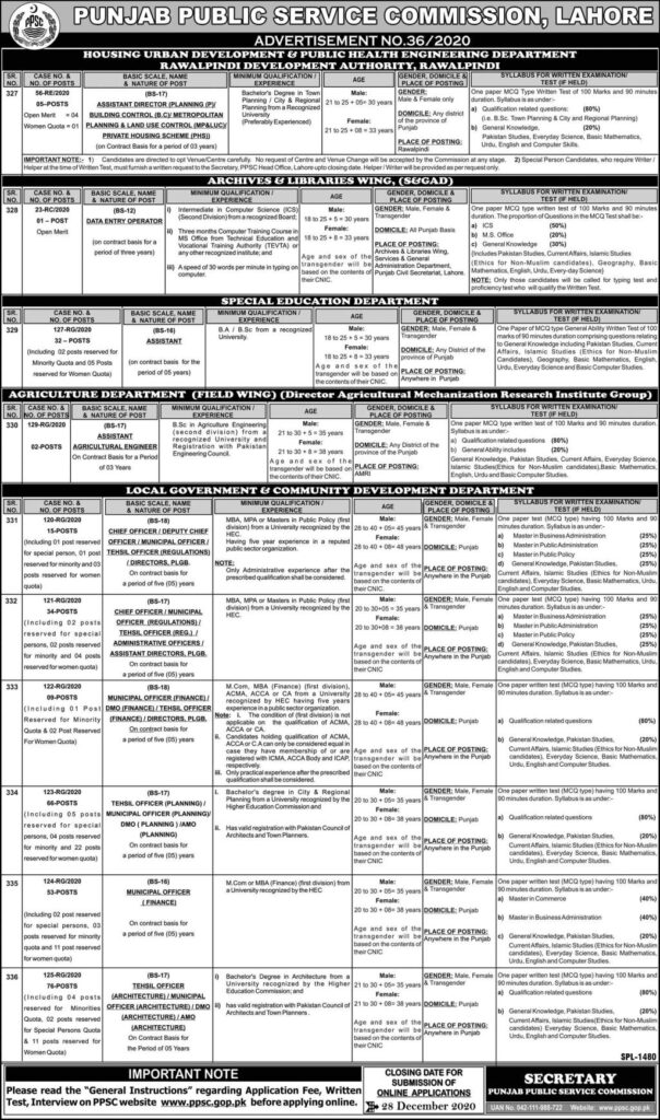 PPSC Jobs Latest 2020 Online Apply Advertisement