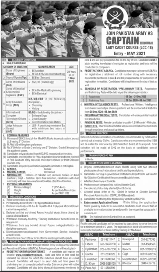 Pak Army Job Lady Cadet Course As a Captian 2020