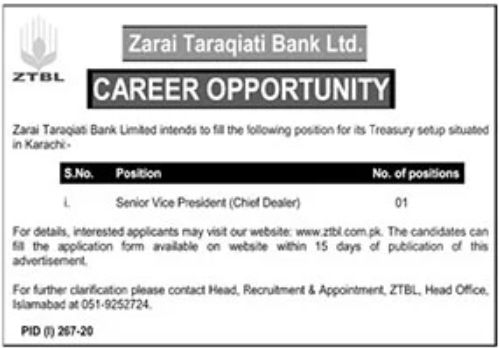 ZTBL Jobs 2020 For Vice President