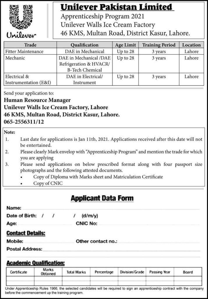 Pakistan Unilever Jobs 2021